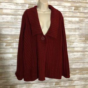 Cato Dark red single button sweater